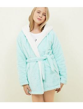 Girls Mint Green Waffle Borg Lined Dressing Gown by New Look