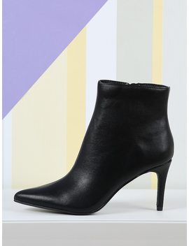 Pointed Toe Pu Ankle Boots by Sheinside