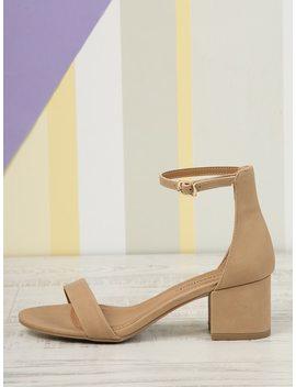 Open Toe Low Block Heel Sandals by Sheinside