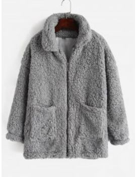 Fluffy Faux Fur Winter Teddy Coat   Light Gray M by Zaful
