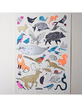 British Wildlife Screenprint   Wild Things by Etsy