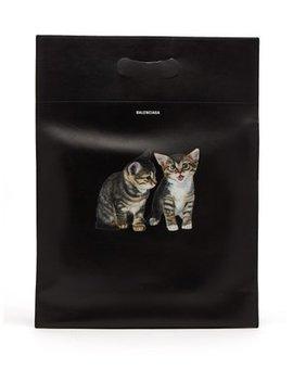 Kitten Print Leather Tote Bag by Balenciaga