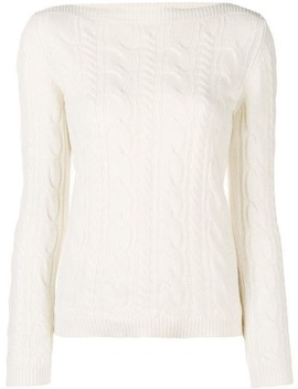 Boat Neck Cable Knit Jumper by Max Mara