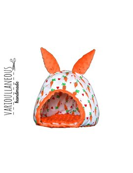 Bunny Rabbit Fluffy Pet Bed With Carrots And Ears Washable by Etsy