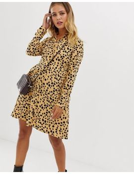 Wednesday's Girl Skater Shirt Dress In Dalmation Spot by Wednesday's Girl