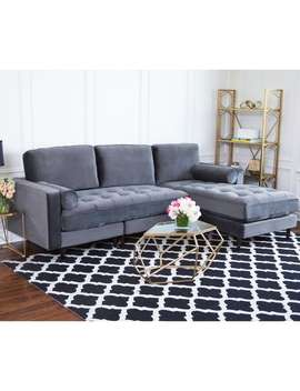 Abbyson Maddie Charcoal Grey Velvet Reversible Sectional by Abbyson