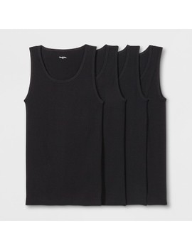 Men's Ribbed Tanks 4pk   Goodfellow & Co™ Black by Goodfellow & Co