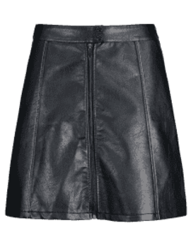 A Line Faux Leather Skirt   Black Xs by Zaful