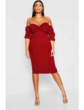 Plus Off The Shoulder Twist Detail Midi Dress by Boohoo