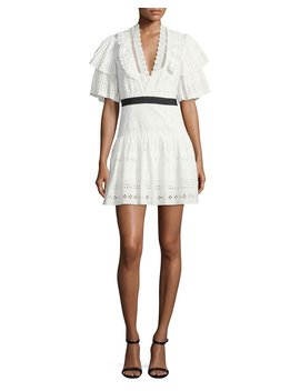 Broderie Anglaise Striped Cotton Cocktail Dress by Neiman Marcus