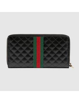 Leather Zip Around Wallet With Double&Nbsp;G by Gucci