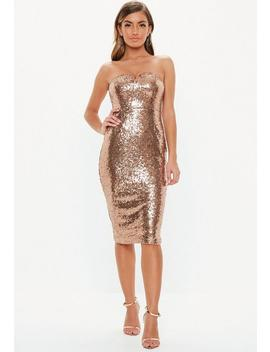 Bronze Sequin Bandeau V Bar Midi Dress by Missguided