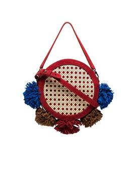Multicoloured Tambourine Straw And Suede Satchel Bag by Mehry Mu