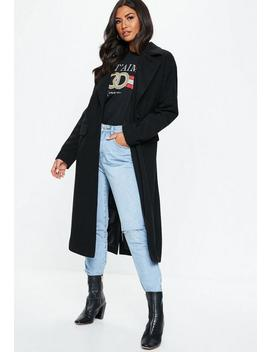 Black Longline Faux Wool Coat by Missguided