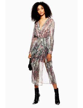 Snake Print Chiffon Midi Dress by Topshop