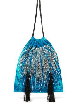 Tasseled Embellished Velvet Pouch by Attico