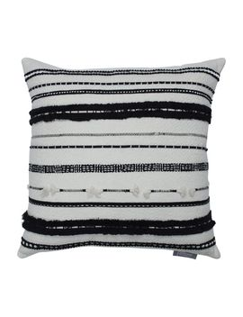 Line Works Black And Off White Decorative Throw Pillow by Pillow Perfect