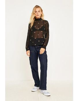 Uo Madelyn Ruffle Collar Embroidered Blouse by Urban Outfitters