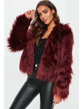 Burgundy Hooded Shaggy Coat by Missguided