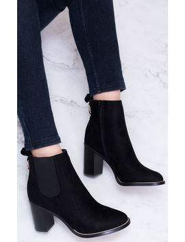 Hanihan Zip Block Heel Chelsea Ankle Boots   Black Suede Style by Spy Love Buy