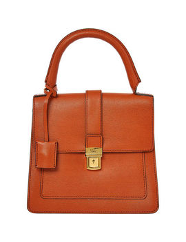Orange Leather Borbonese Grab Bag by Daks