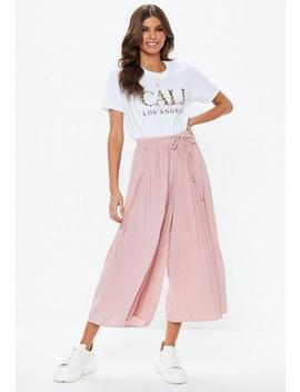 Nude Pleated Culottes by Missguided