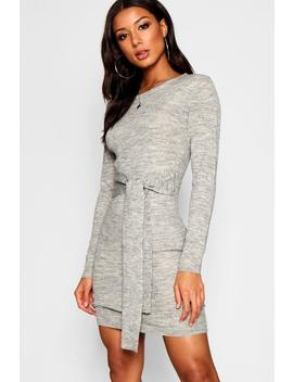 Ribbed Belted Dress by Boohoo