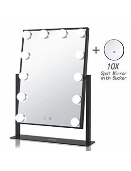 Geek House Lighted Vanity Mirror Hollywood Style Makeup Tabletops, Large Cosmetic Mirror With 12 X 3 W Super Bright Dimmable Touch Control Led Bulbs, Black by Geek House