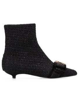 Annaveronica Crystal Embellished Bouclè Booties by Anna Baiguera