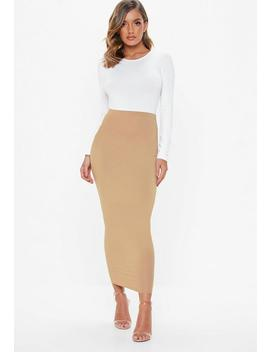 Camel Jersey Midi Skirt by Missguided