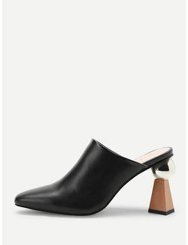 Plain Pointed Toe Chunky Heels by Sheinside