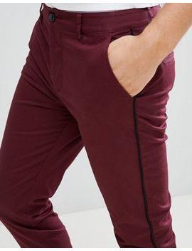 Бордовые брюки скинни с боковым кантом Asos Design by Asos