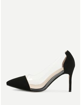 Pointed Toe Clear Detail Stiletto Heels by Sheinside