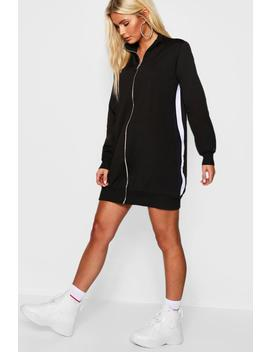 Sports Tricot Panelled Zip Through Dress by Boohoo