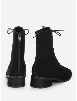 Lace Up Zipper Back Chunky Boots by Sheinside