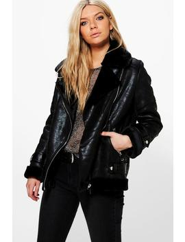 Sarah Faux Fur Lined Aviator Jacket by Boohoo