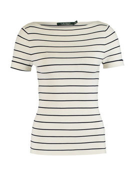 Cream & Black Short Sleeve Stripe Top by Lauren Ralph Lauren