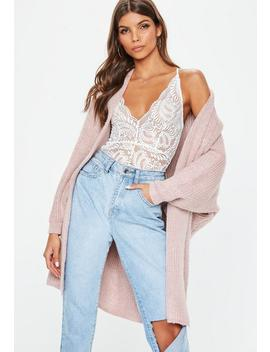 Nude Oversized Batwing Knitted Cardigan by Missguided