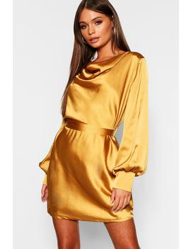 Satin Cowl Neck Shift Dress by Boohoo