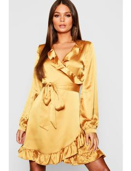 Satin Wrap Front Tea Dress by Boohoo