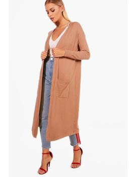 Jo Knitted Pocket Front Edge To Edge Cardigan by Boohoo