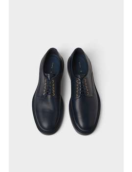 Monochrome Blue Leather Shoe  Leather Man Shoes by Zara