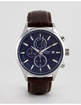 Sekonda 1186 Chronograph Watch With Blue Dial And Brown Leather Strap by Sekonda