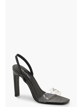 Clear Slogan Sling Back Heels by Boohoo