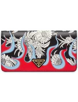 Dahlia Flame Print Saffiano Mini Bag by Prada