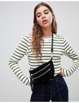 Weekday Long Sleeve Stripe Top In Khaki And White by Weekday
