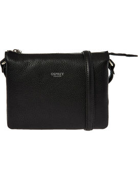 Black Leather Mini Cross Body Bag by Osprey London