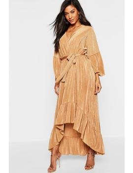 Plisse Wrap Front Ruffle Hem Maxi Dress by Boohoo
