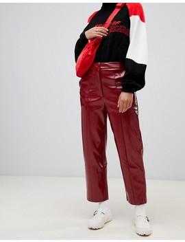 Weekday   Pantalon Verni   Rouge Foncé by Weekday