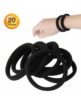 20 Pcs Large Seamless Black Hair Ties Band For Thick And Curly Hair Bulk by Gosicuka